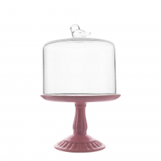 SMALL CERAMIC CAKE STAND WITH GLASS COVER (PINK)