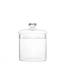 GLASS CANDY JAR WITH DIAMOND HANDLE (M)