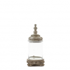 GLASS JAR WITH WHITE BASE AND TOP (M)