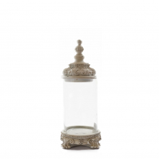 GLASS JAR WITH WHITE BASE AND TOP (L)
