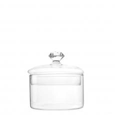 GLASS CANDY JAR WITH DIAMOND HANDLE (S)