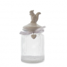 GLASS JAR WITH CERAMIC SQUIRREL TOP : LARGE