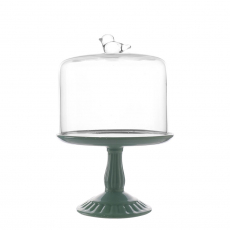SMALL CERAMIC CAKE STAND WITH GLASS COVER (BLUE)