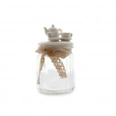 CANDY JAR WITH TEA SET TOP