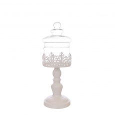 TIN CANISTER WITH GLASS TOP S