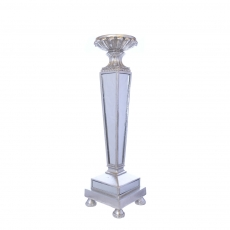 MIRROR POLYRESIN CANDLE HOLDER SILVER 20