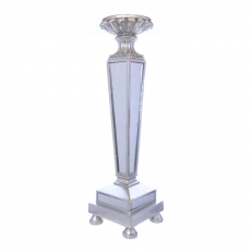 MIRROR POLYRESIN CANDLE HOLDER SILVER 23.5